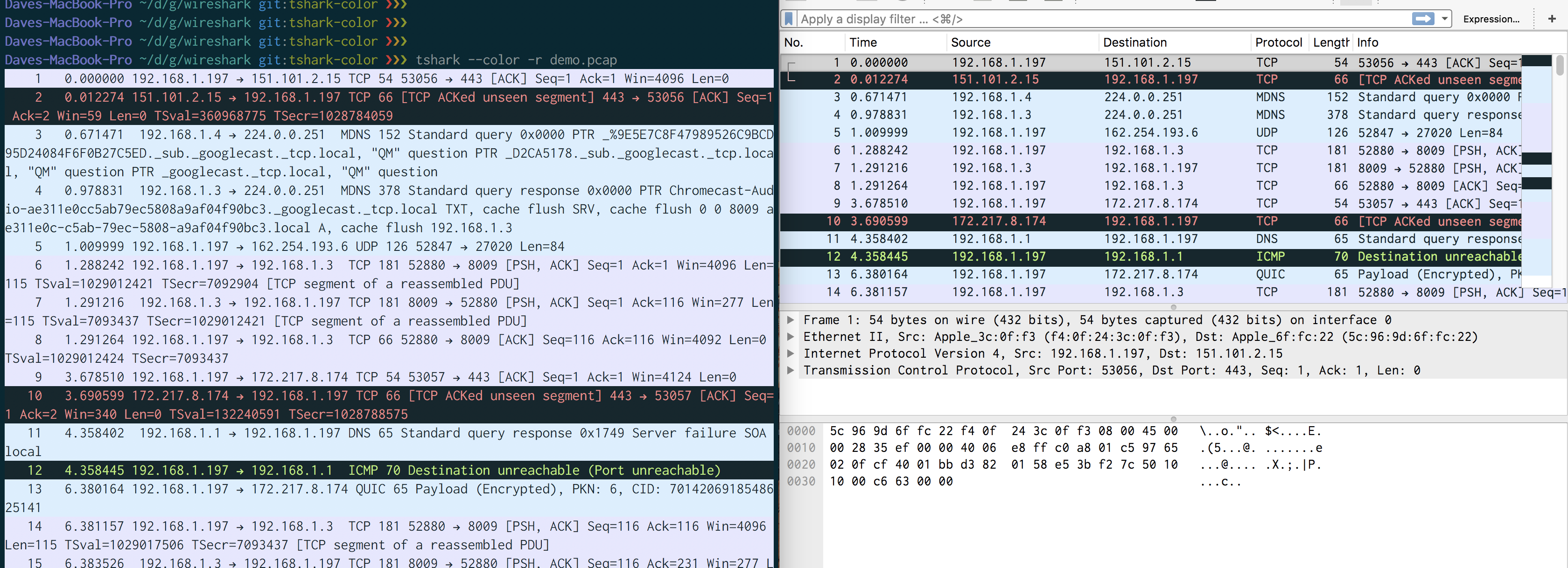 tshark/wireshark comparison screen shot
